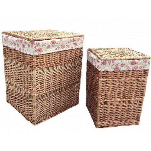 Cotswolds Vintage Rose Lined Willow Square Wicker Laundry Bin Baskets Pair H 61 x W 46cm